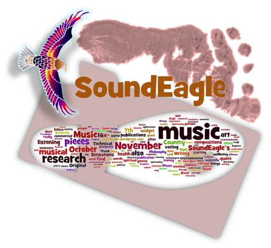 SoundEagle in Art with Sole, Footprint and Keywords (sideway flight)