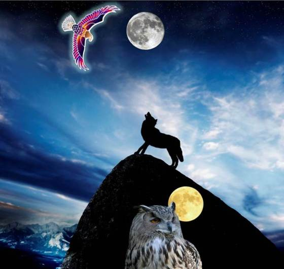 SoundEagle in Full Moon, Sky, Mountain and Wolf