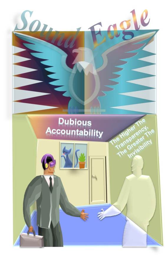 Transparent SoundEagle Explaining Dubious Accountability: The Higher The Transparency, The Greater The Invisibility