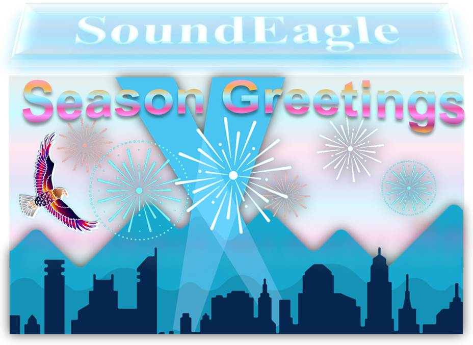 SoundEagle in Happy New Year and Season Greetings with City Skyline, Mountains, Spotlights and Fireworks