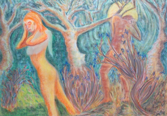 Full Moon. 18″ x 24″. Pastel and Conte on paper. 2012. (Drwg #34)