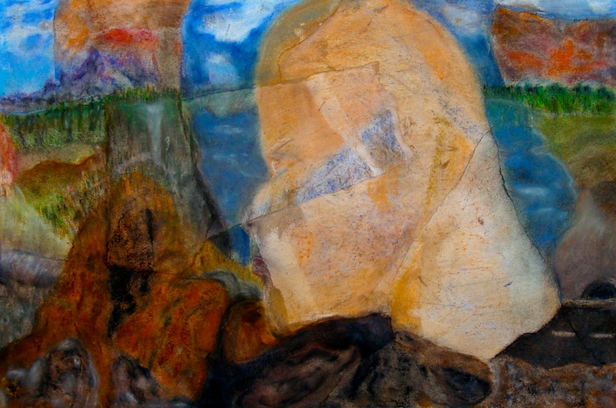 Just Say No to Landscape – 15″ x 22″. 2 pastel drawings, ripped and recombined. 2011. (Drwg #14)
