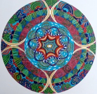 Mandala for George. 11″x14″ – coloured pen on paper. (Drwg #5)