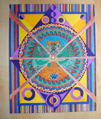 Mandala for Jesse. 16.5×20.5″. coloured pen on paper. (Drwg #3)