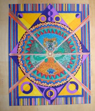 Mandala for Jesse. 16.5×20.5″. coloured pen on paper. (Drwg #3)