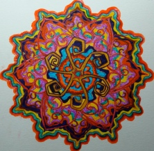 Mandala for Steve. Coloured pen on paper. (Drwg #36)