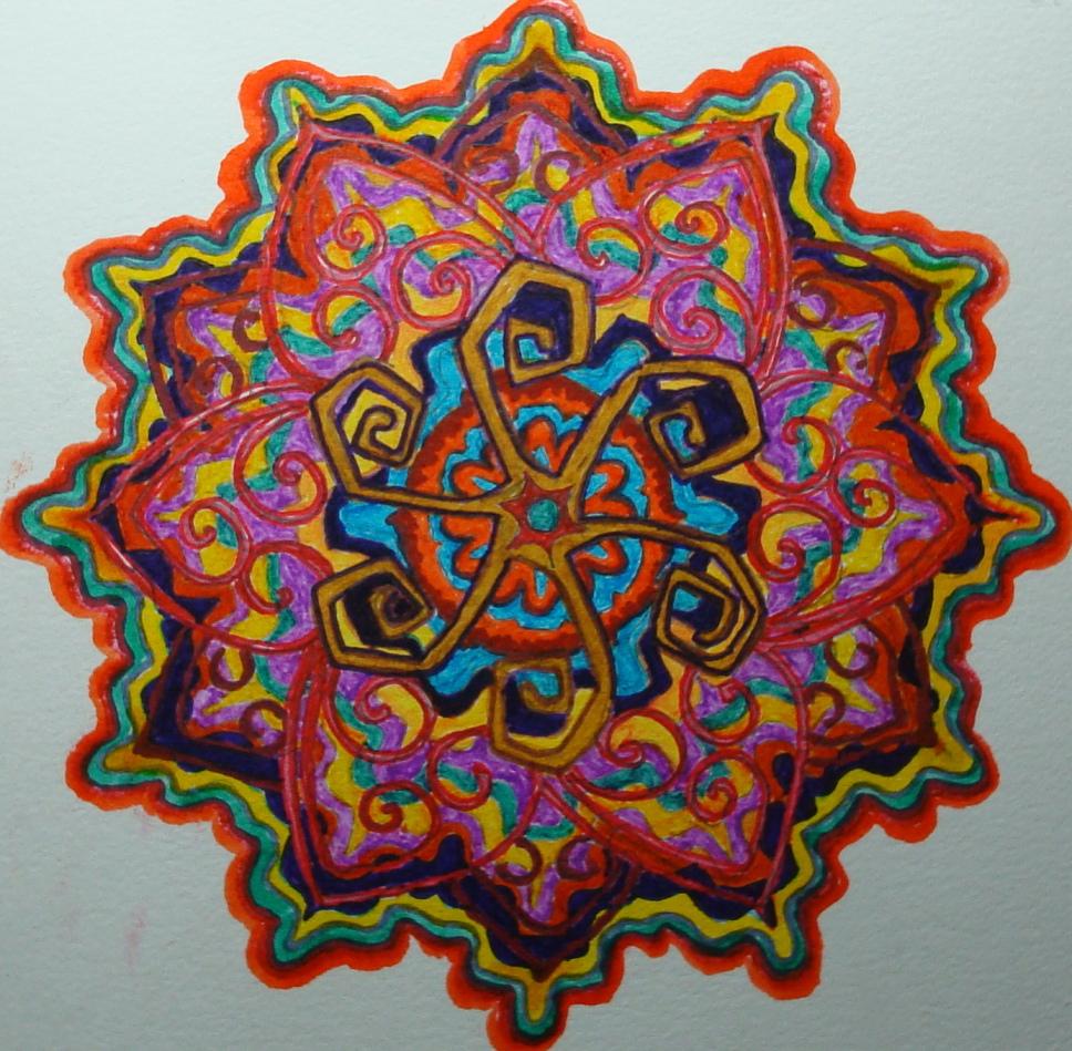 Mandala for Steve. Coloured pen on paper. (Drwg #36)