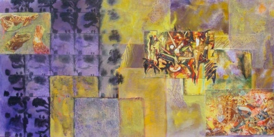 Other Rooms – 12″ x 24″. acrylic, altered photographs, mixed media; on cradled panel. 2010. (Mix Med #7)
