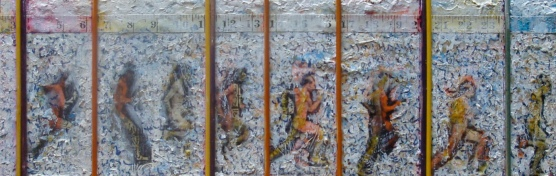 Running Man 1 – 8″ x 24″. acrylic, plaster, letraset, photocopies, found objects; on cradled panel. 2010. (Mix Med #5)