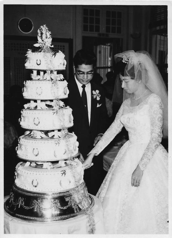 Khim and Her Husband Cutting the Wedding Cake (2 April 1961)