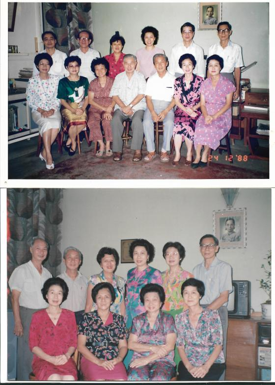 Khim reunited with her siblings and their spouses at 16 Phuah Hin Leong Road, Penang (24 Dec 1988 and Oct 1993)