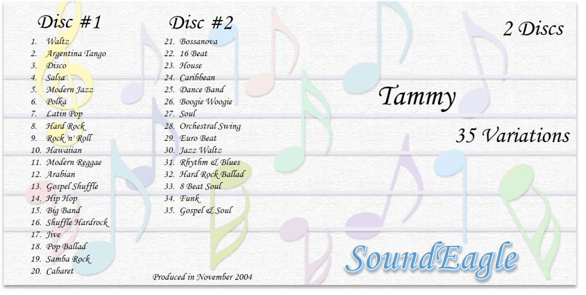The CD sleeve note showing SoundEagle's 35 Variations on Tammy