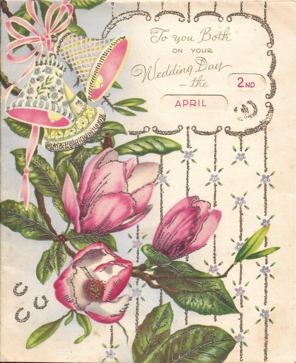 The original wedding greeting card for Khim dated 2nd April of 1961 (front)