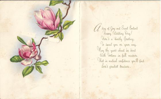 The original wedding greeting card for Khim dated 2nd April of 1961 (inside)