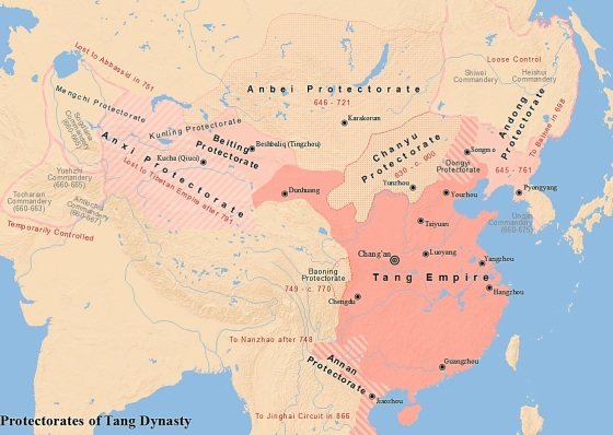 Map of the six major protectorates during the Tang dynasty (唐朝的六大都護府示意地圖)