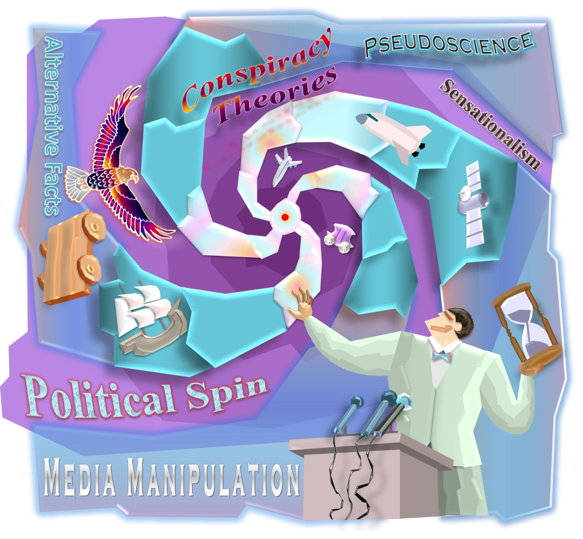 Political Spin and Media Manipulation with Pseudoscience, Sensationalism, Alternative Facts and Conspiracy Theories